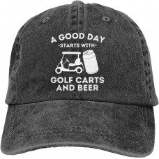 A Good Day Starts with Golf Carts and Beer Baseball Caps Adult Adjustable Denim Cap  B097QN4HJ1