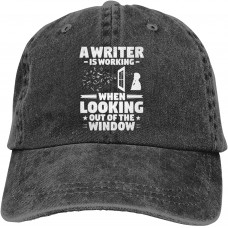 A Writer is Working When Looking Out of The Window Baseball Caps Adult Adjustable Denim Cap  B095R6WGZ3
